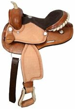 """12"""" Double T round skirt youth saddle with suede leather seat."""