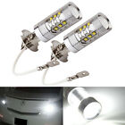 2X H3 80W CREE Super Bright LED White Fog Tail Turn DRL Head Car Light Lamp Bulb