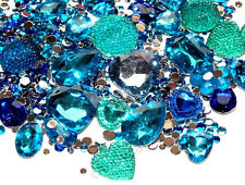CandyCabsUK 50g Mixed Flatback & 3D Gems Rhinestones Jewels Ice Blue Mix DIY Kit