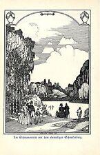 Hugo Steiner Prag Am Schwanenteich ehemaligen Schneckenberg Schmuckblatt von1909