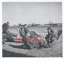 WWII ORIGINAL GERMAN WAR PHOTO LUFTWAFFE PILOTS WITH AIRPLANES ON AIRDROME