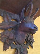 Antique Black Forest Carved Wood Chamois Head With Glass Eyes Wall Mount Shelf