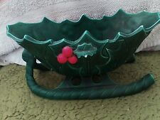 Vintage Christmas Holly Berry Sleigh Planter or Candy Dish.  Lefton Japan
