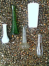 Set of 5 Mis-Matched Vintage Vases Milk Glass, Bubble, Green & Clear Decor
