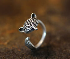 Antique Silver Plt Fox Ring  / Thumb Ring Adjustable ladies Mens gift