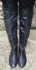 French Connection Black leather Over Knee Boots, UK 7/Eur 40