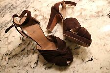 Vtg 40s 50s Pin Up Platfrom Peeptoe Ankle Strap Heels Shoes Ansonia Fifth Avenue