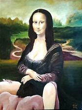 Erotic painting, The sercret of Mona Lisa smile, acrylic on canvas 61 x 46 cm