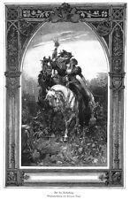 Falkner, Beizjagd,auf der Reiherbeize, Original-Holzstich von ca. 1890