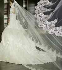 US SELLER Charming-One-Tier-Bridal-CHAPEL -Wedding-Veil- ivory