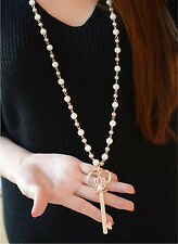 Charm Woman Crystal Rose Gold Plated Key Pendant Pearl Sweater Chain Necklace