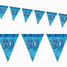 12ft Blue Sparkle Happy 50th Birthday Pennant Flag Banner Party Decoration