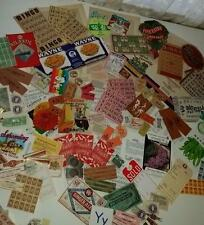 vintage ephemera paper variety box lot tickets stamps labels game cards 200+ Y