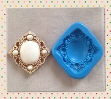 SQUARE BROOCH N 2 SILICONE MOULD for Sugarcraft Fimo Cernit Cupcake Topper Cakes