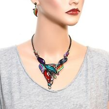 Dark Silver Multi Colored Mix Crystal Acrylic and  Enamel Necklace Set