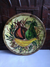 Vintage Old STUDIO ART POTTERY WALL PLATE BROWN WITH FRUITS DESIGN