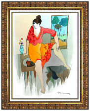 Itzchak TARKAY Original Watercolor PAINTING Lady Portrait HAND SIGNED Artwork