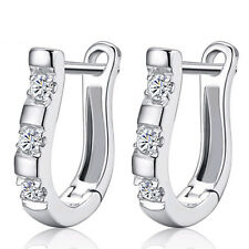 925 Sterling Silver Earrings Hoop Clear Crystal Horseshoe Shape Woman's