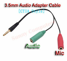 3.5mm Male to Audio Mic Female Splitter Cable For Samsung Galaxy Note 5 4 3 Edge