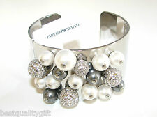 NEW EMPORIO ARMANI SILVER MULTI-BEAD+PEARL+CRYSTAL CUFF/BANGLE BRACELET-EGS1451