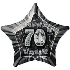 "20"" Happy 70th Birthday Black Sparkle Star Foil Balloon"