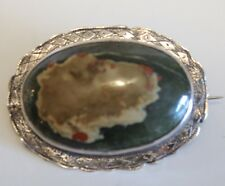 Vintage Victorian Scottish Sterling Silver & Blood Agate Brooch Pin