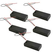 5pcs New 2x AAA 3V Battery Clip Storage Holder Box Case with ON/OFF Switch Black