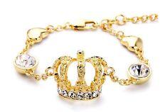 B432 Betsey Johnson Sparkling Rhinestone Princess Crystal Crown Gold Bracelet US