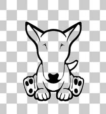 Cartoon English Bull Terrier Puppy Car Van Bumper Window Laptop Decal Sticker