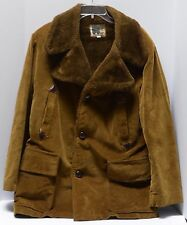 WILLIAM BARRY CORDUROY Faux Fur COAT Mens 42 Warm VINTAGE Made in USA Brown Tan