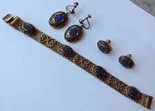 VINTAGE JULIANA D & E TURQUOISE MOROCCAN MATRIX BRACELET & 2 PAIRS OF EARRINGS