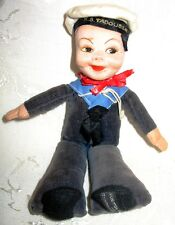 """Nora Wellings Cloth Sailor Doll 1940's to 1950's Cruise Ship """"S.S. Tadoussac"""""""
