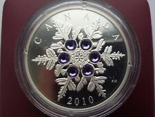 Canada 20$ Tanzanite Snowflake Silver Coin with Swarovski 2010 year