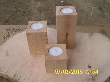 Teelichthalter aus Eiche, Holz Deko, 3er Set, Kerzenlichthalter, Kerzenständer