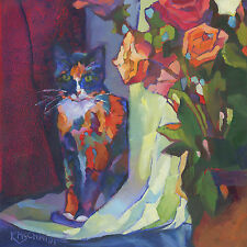 KMSchmidt ORIGINAL Painting 6x6 Fauve TUXEDO TABBY CAT kitten with roses art