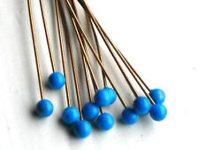 #1505H Vintage Glass Stems Stem Ball Headpins Stamen Genuine Turquoise Wire Blue
