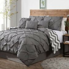 Bedroom 7 Piece Queen Gray Pinch Pleat Chevron Reversible Comforter Bedding Set