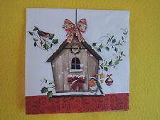 5 Servietten WINTER BIRD HOUSE Rotkehlchen ROBIN Vogelhaus Vögel Weihnachten
