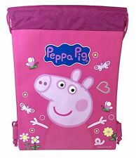 Pink Peppa Pig Drawstring Backpack School Sport Gym Bag