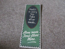 Home Made BLOOD Wine Tonic Original c 1920's SHOP Advertising Showcard Design 2