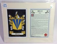 BRYAN Heraldic Coat of Arms Family Crest Family Tree Matted Ready To Frame