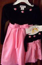 Dolly & Me Dressy Dress SET Sz 3T Black Velveteen Top Pink Satin Skirt New