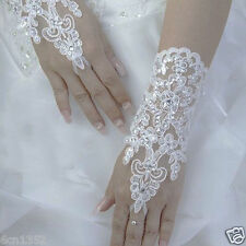Ivory  Lace Bride Bridal Accessories short Gloves for Wedding dress gown