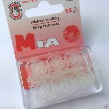 15 piece pack clear plastic snap fasteners 13mm diameter