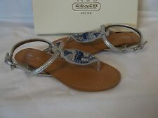 Coach 6 M Olga Silver Leather Sandals Ankle Strap New Womens Shoes