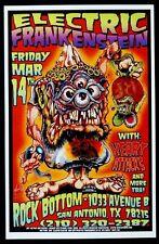 ELECTRIC FRANKENSTEIN Concert Poster SIGNED by JOHNNY ACE & KALI Rat Fink Roth