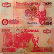 ZAMBIA 2008 50 KWACHA UNCIRCULATED BANKNOTE P-37 EAGLE & ZEBRA FROM A USA SELLER
