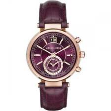 NEW Michael Kors Sawyer Gold Chronograph Plum Dial Ladies Leather Watch MK2580