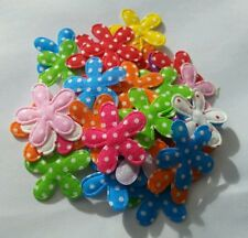 30 x Flower Polka Dot Appliques/Patches 2.8cm Mixed Colours