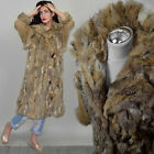 Vintage Camel Suede Parka Real Shaggy Fox Fur Gilet Draped Winter Leather Coat M